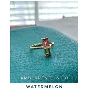 AmberRenée & Co Jewelry - 14k Elongated Emerald Cut Faded Pink or Watermelon